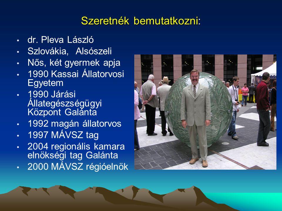 Szeretnék bemutatkozni: dr. Pleva László Szlovákia, Alsószeli Nős, két gyermek apja 1990 Kassai Állatorvosi Egyetem 1990 Járási Állategészségügyi Közp