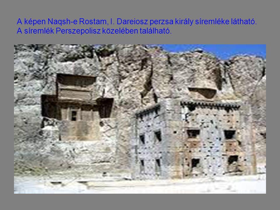 A képen Naqsh-e Rostam, I. Dareiosz perzsa király síremléke látható. A síremlék Perszepolisz közelében található.