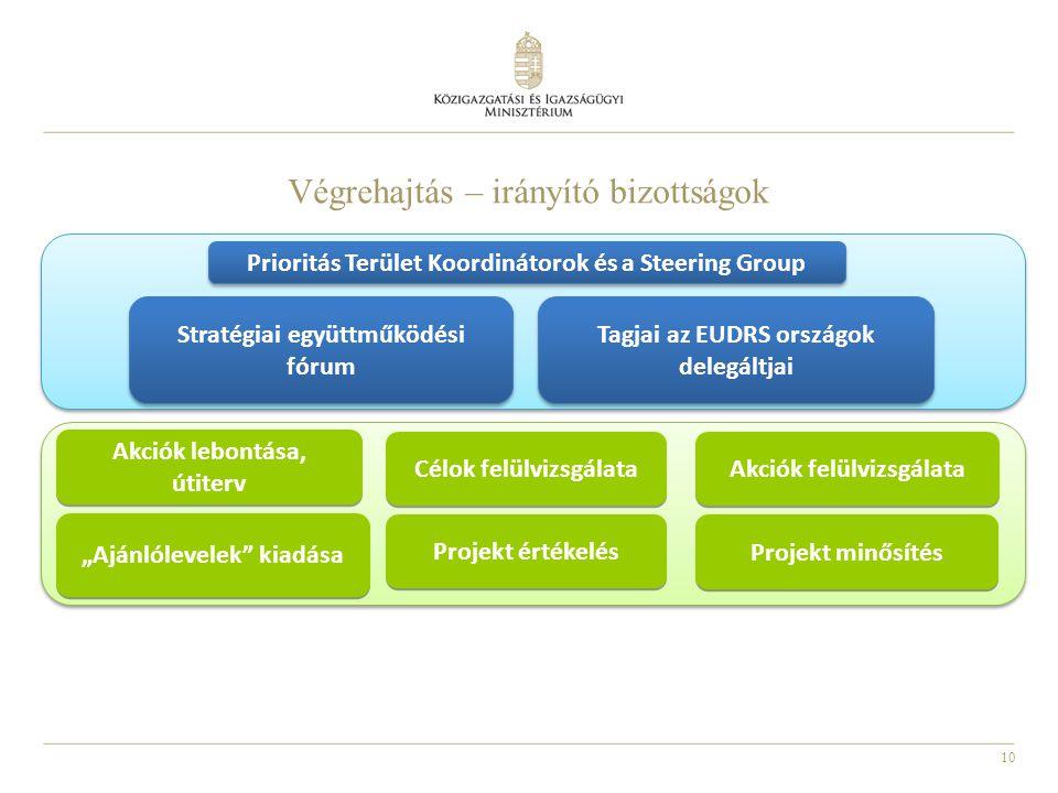10 Végrehajtás – irányító bizottságok Prioritás Terület Koordinátorok és a Steering Group Stratégiai együttműködési fórum Célok felülvizsgálata Akciók