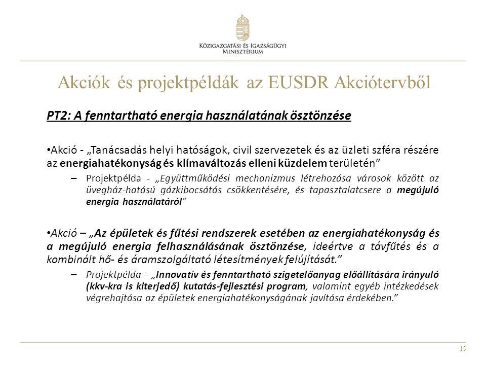 """19 Akciók és projektpéldák az EUSDR Akciótervből PT2: A fenntartható energia használatának ösztönzése Akció - """"Tanácsadás helyi hatóságok, civil szerv"""