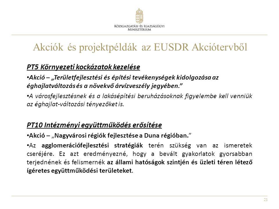 """21 Akciók és projektpéldák az EUSDR Akciótervből PT5 Környezeti kockázatok kezelése Akció – """"Területfejlesztési és építési tevékenységek kidolgozása a"""