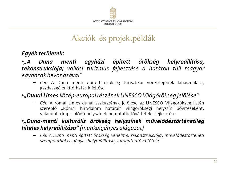 """22 Akciók és projektpéldák Egyéb területek: """"A Duna menti egyházi épített örökség helyreállítása, rekonstrukciója; vallási turizmus fejlesztése a hatá"""