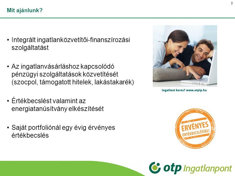 Mit ajánlunk? Integrált ingatlanközvetítői-finanszírozási szolgáltatást Az ingatlanvásárláshoz kapcsolódó pénzügyi szolgáltatások közvetítését (szocpo