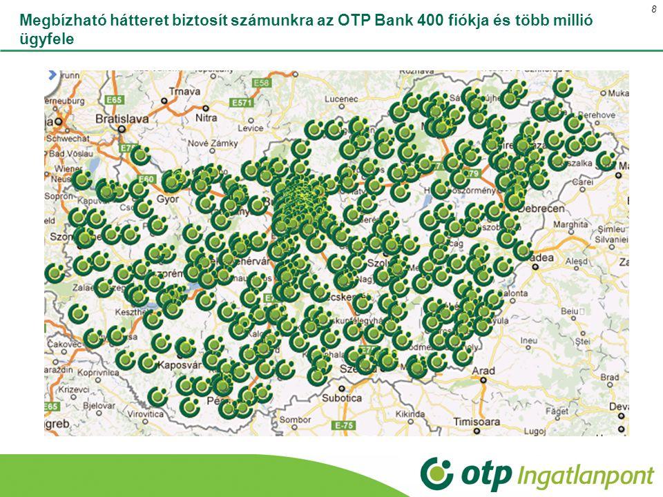 Megbízható hátteret biztosít számunkra az OTP Bank 400 fiókja és több millió ügyfele 8