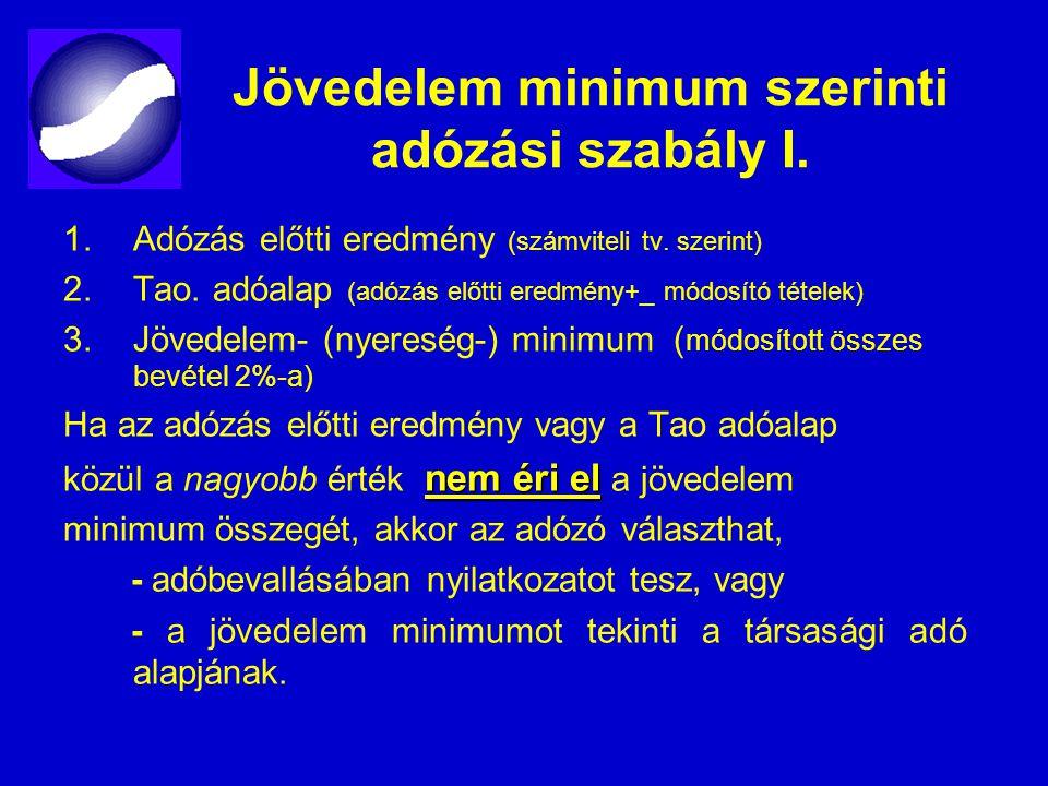 Jövedelem minimum szerinti adózási szabály I. 1.Adózás előtti eredmény (számviteli tv. szerint) 2.Tao. adóalap (adózás előtti eredmény+_ módosító téte