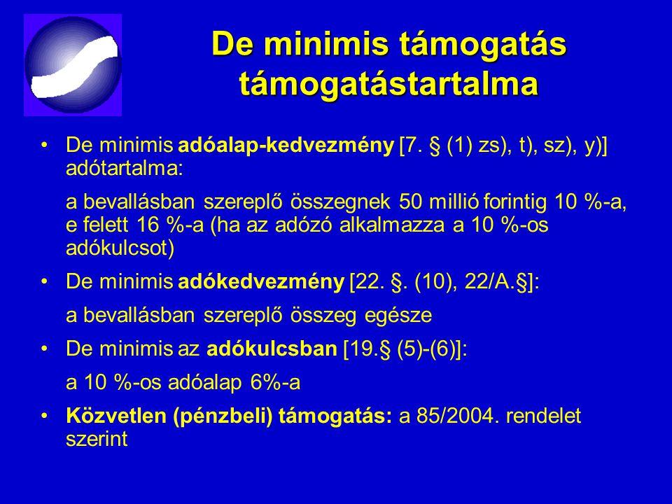 De minimis támogatás támogatástartalma De minimis adóalap-kedvezmény [7. § (1) zs), t), sz), y)] adótartalma: a bevallásban szereplő összegnek 50 mill