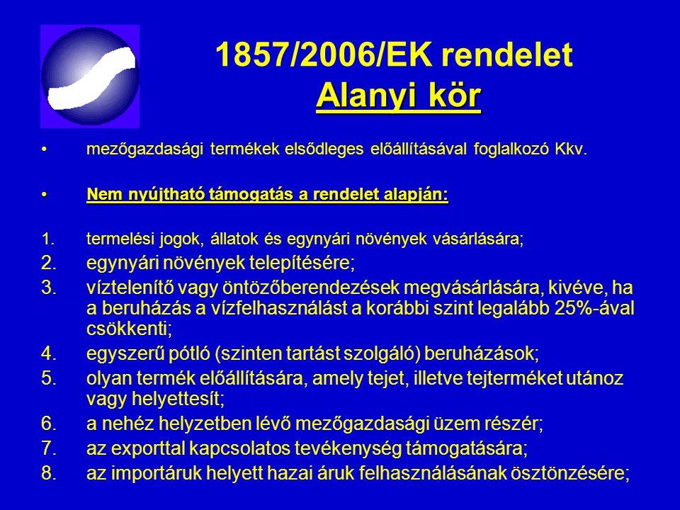 Alanyi kör 1857/2006/EK rendelet Alanyi kör mezőgazdasági termékek elsődleges előállításával foglalkozó Kkv. Nem nyújtható támogatás a rendelet alapjá