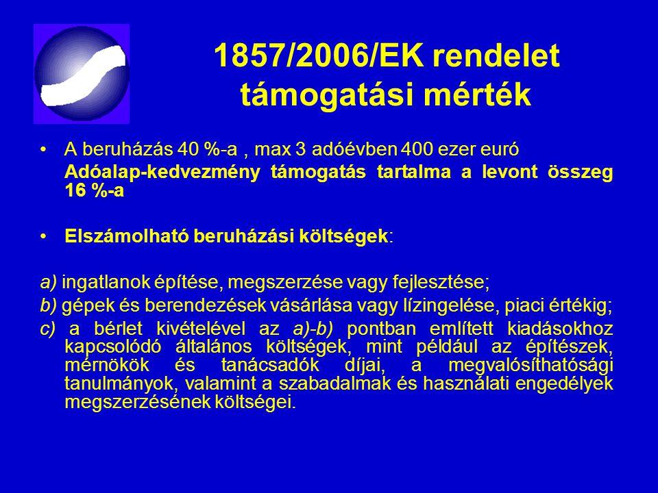 1857/2006/EK rendelet támogatási mérték A beruházás 40 %-a, max 3 adóévben 400 ezer euró Adóalap-kedvezmény támogatás tartalma a levont összeg 16 %-a