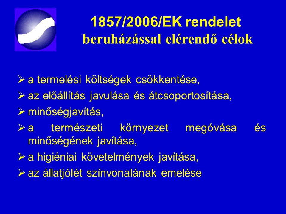 1857/2006/EK rendelet beruházással elérendő célok  a termelési költségek csökkentése,  az előállítás javulása és átcsoportosítása,  minőségjavítás,
