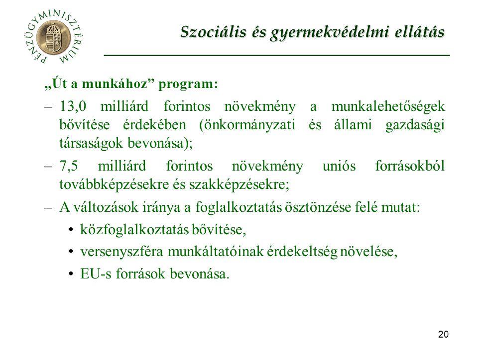 """20 """"Út a munkához program: –13,0 milliárd forintos növekmény a munkalehetőségek bővítése érdekében (önkormányzati és állami gazdasági társaságok bevonása); –7,5 milliárd forintos növekmény uniós forrásokból továbbképzésekre és szakképzésekre; –A változások iránya a foglalkoztatás ösztönzése felé mutat: közfoglalkoztatás bővítése, versenyszféra munkáltatóinak érdekeltség növelése, EU-s források bevonása."""