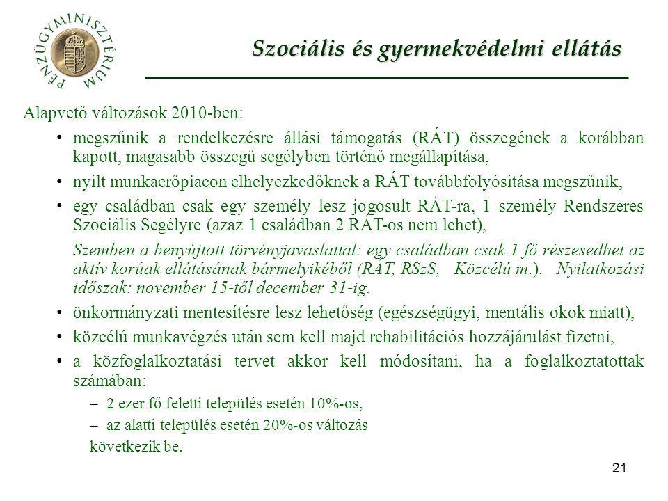 21 Szociális és gyermekvédelmi ellátás Alapvető változások 2010-ben: megszűnik a rendelkezésre állási támogatás (RÁT) összegének a korábban kapott, magasabb összegű segélyben történő megállapítása, nyílt munkaerőpiacon elhelyezkedőknek a RÁT továbbfolyósítása megszűnik, egy családban csak egy személy lesz jogosult RÁT-ra, 1 személy Rendszeres Szociális Segélyre (azaz 1 családban 2 RÁT-os nem lehet), Szemben a benyújtott törvényjavaslattal: egy családban csak 1 fő részesedhet az aktív korúak ellátásának bármelyikéből (RÁT, RSzS, Közcélú m.).