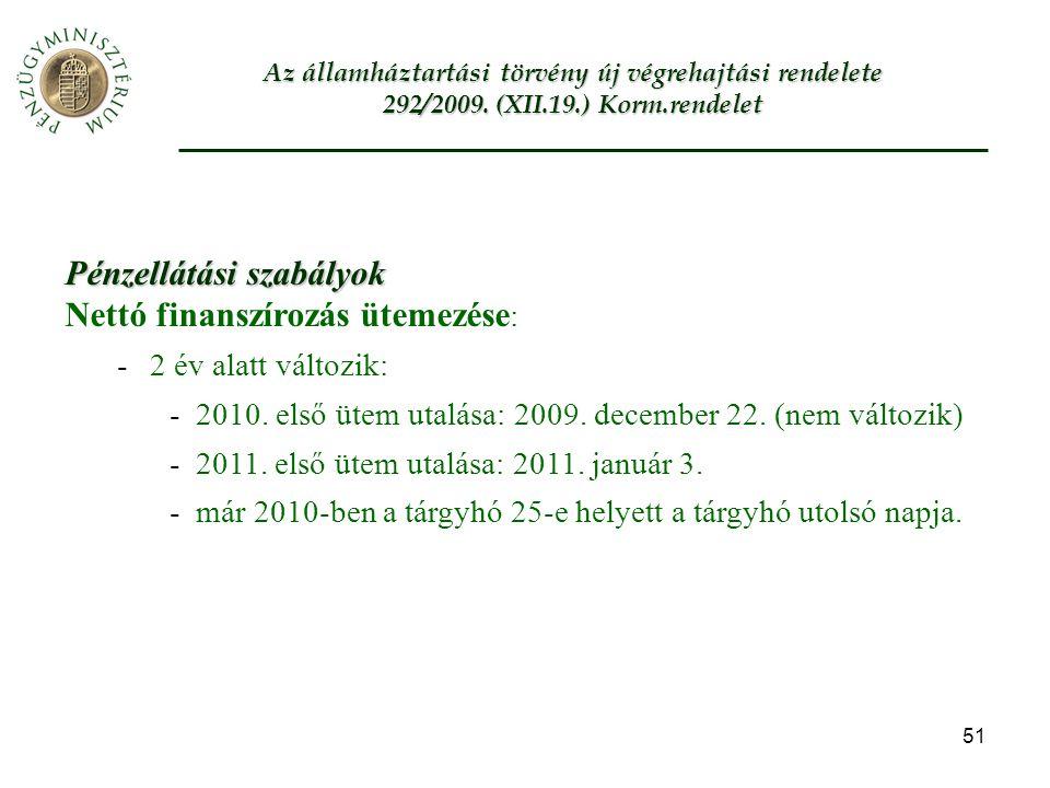 51 Az államháztartási törvény új végrehajtási rendelete 292/2009.