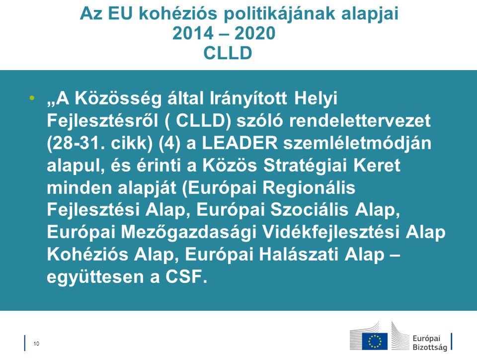 """Az EU kohéziós politikájának alapjai 2014 – 2020 CLLD """"A Közösség által Irányított Helyi Fejlesztésről ( CLLD) szóló rendelettervezet (28-31. cikk) (4"""