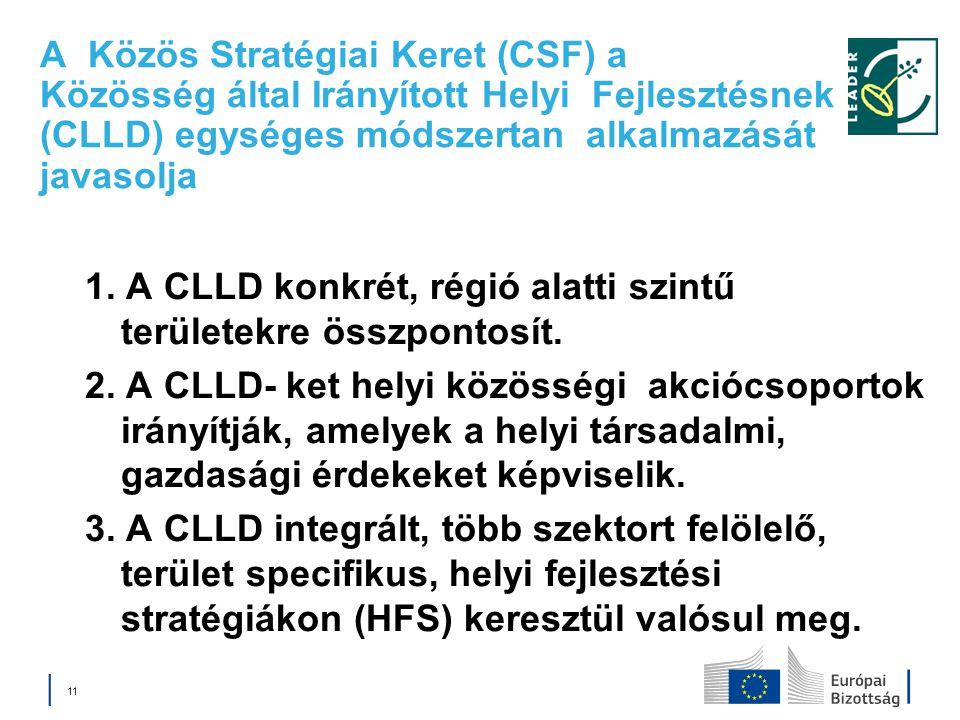 A Közös Stratégiai Keret (CSF) a Közösség által Irányított Helyi Fejlesztésnek (CLLD) egységes módszertan alkalmazását javasolja 1. A CLLD konkrét, ré