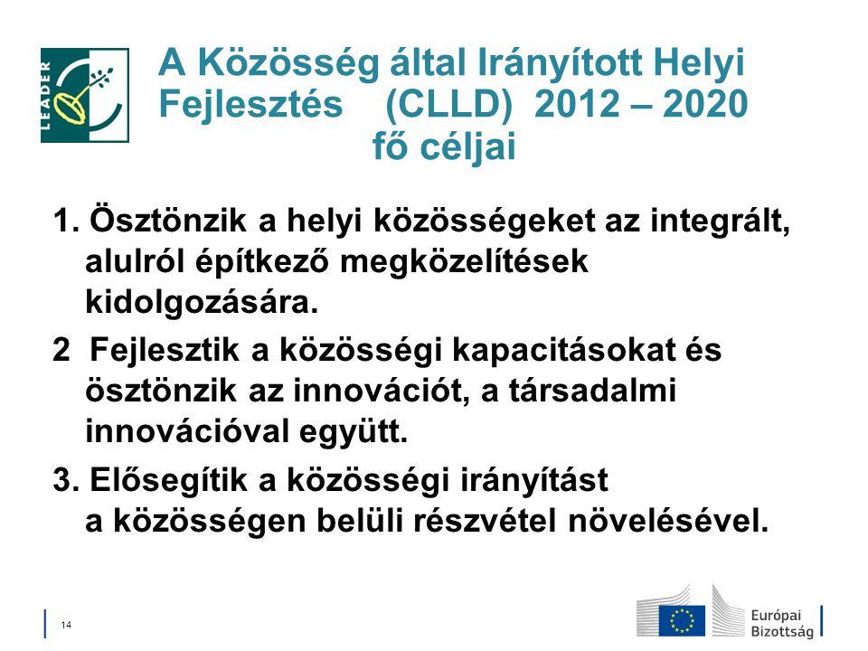 A Közösség által Irányított Helyi Fejlesztés (CLLD) 2012 – 2020 fő céljai 1. Ösztönzik a helyi közösségeket az integrált, alulról építkező megközelíté