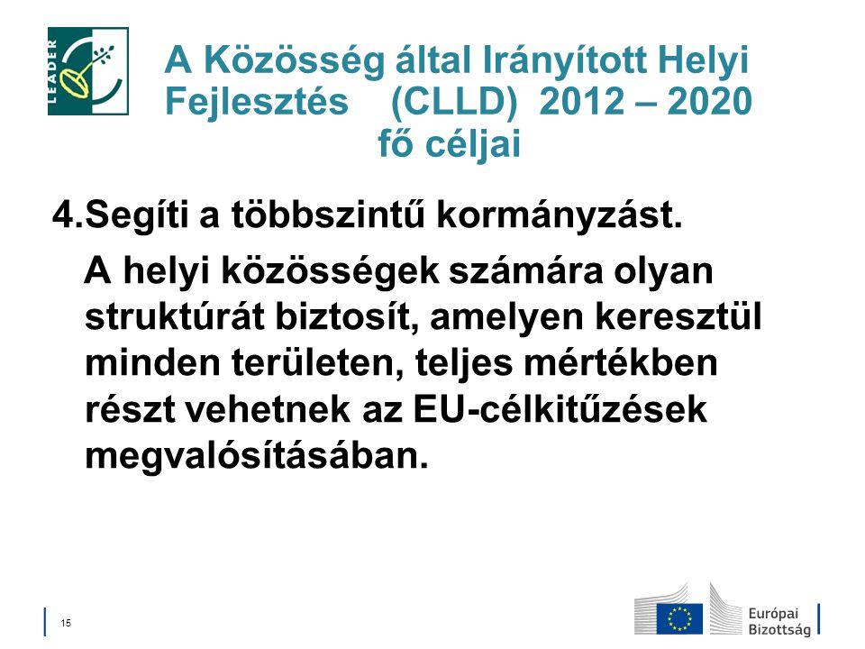 A Közösség által Irányított Helyi Fejlesztés (CLLD) 2012 – 2020 fő céljai 4.Segíti a többszintű kormányzást. A helyi közösségek számára olyan struktúr