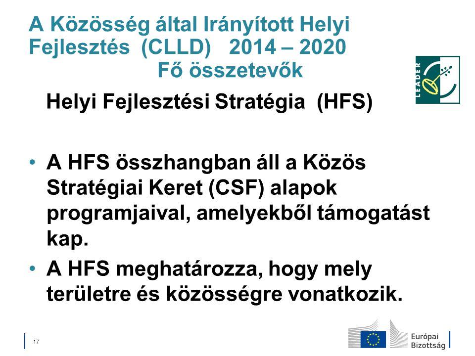 A Közösség által Irányított Helyi Fejlesztés (CLLD) 2014 – 2020 Fő összetevők Helyi Fejlesztési Stratégia (HFS) A HFS összhangban áll a Közös Stratégi