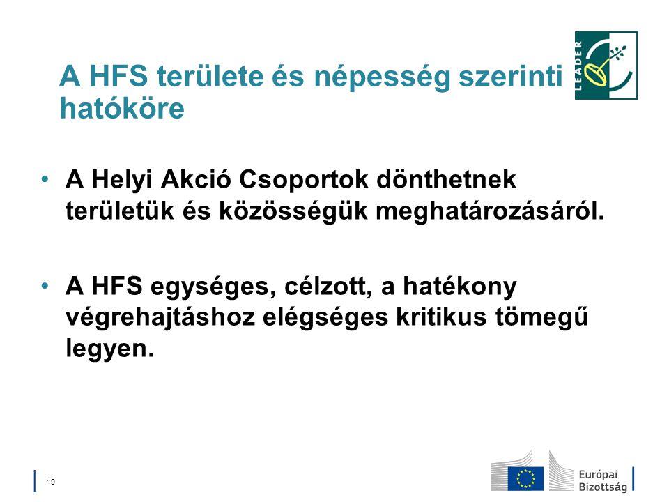 A HFS területe és népesség szerinti hatóköre A Helyi Akció Csoportok dönthetnek területük és közösségük meghatározásáról. A HFS egységes, célzott, a h