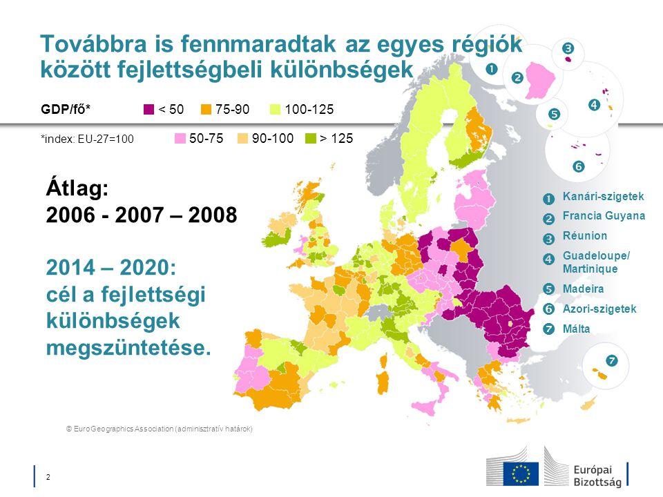 │ 2│ 2 Továbbra is fennmaradtak az egyes régiók között fejlettségbeli különbségek Átlag: 2006 - 2007 – 2008 2014 – 2020: cél a fejlettségi különbségek
