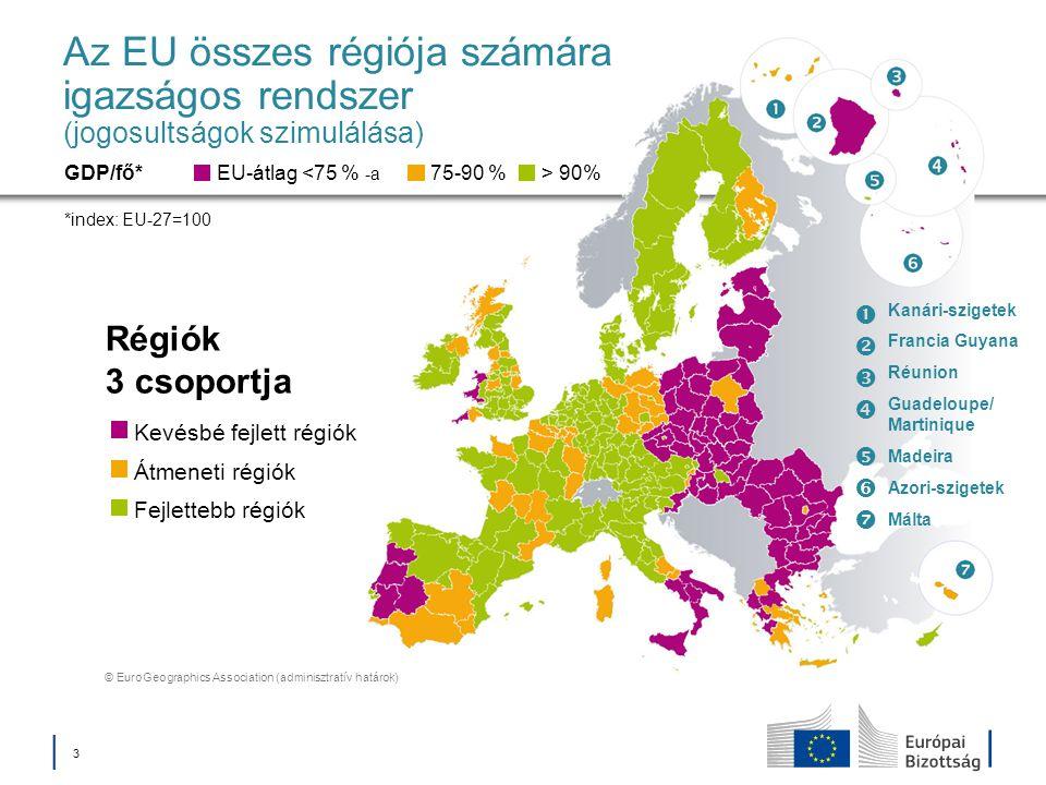 │ 3│ 3 Az EU összes régiója számára igazságos rendszer (jogosultságok szimulálása) Régiók 3 csoportja EU-átlag <75 % -a GDP/fő* *index: EU-27=100 75-9