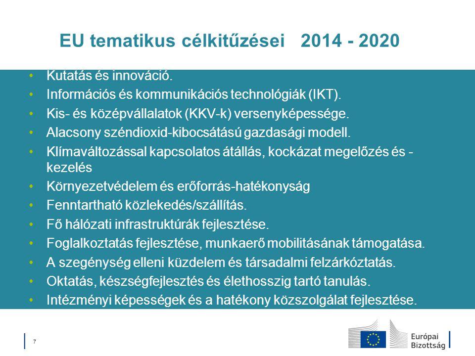 │ 7│ 7 EU tematikus célkitűzései 2014 - 2020 Kutatás és innováció. Információs és kommunikációs technológiák (IKT). Kis- és középvállalatok (KKV-k) ve