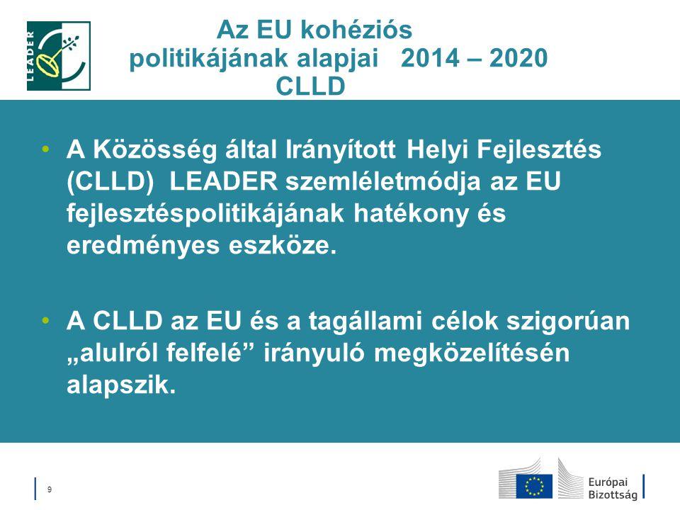Az EU kohéziós politikájának alapjai 2014 – 2020 CLLD A Közösség által Irányított Helyi Fejlesztés (CLLD) LEADER szemléletmódja az EU fejlesztéspoliti