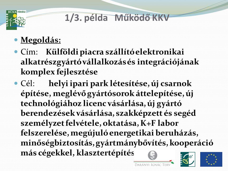 1/3. példa Működő KKV Megoldás: Cím: Külföldi piacra szállító elektronikai alkatrészgyártó vállalkozás és integrációjának komplex fejlesztése Cél: hel