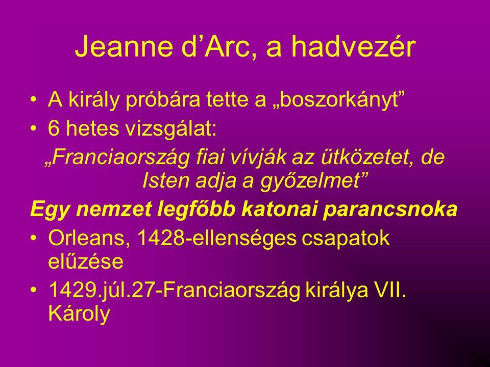 """Jeanne d'Arc, a hadvezér A király próbára tette a """"boszorkányt"""" 6 hetes vizsgálat: """"Franciaország fiai vívják az ütközetet, de Isten adja a győzelmet"""""""