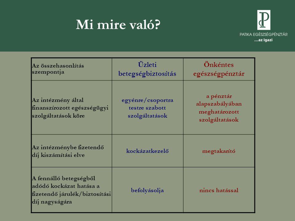 Az üzleti betegségbiztosítások működési problémái  A társadalombiztosítási által nyújtott szolgáltatások definiálatlansága miatt nem jól körülhatárolható a betegségbiztosítás mozgástere  Az önálló betegségbiztosításokra vonatkozó egyéni adókedvezmény hiánya  A magyar lakosság rossz egészségi állapota – kockázat- elbírálás