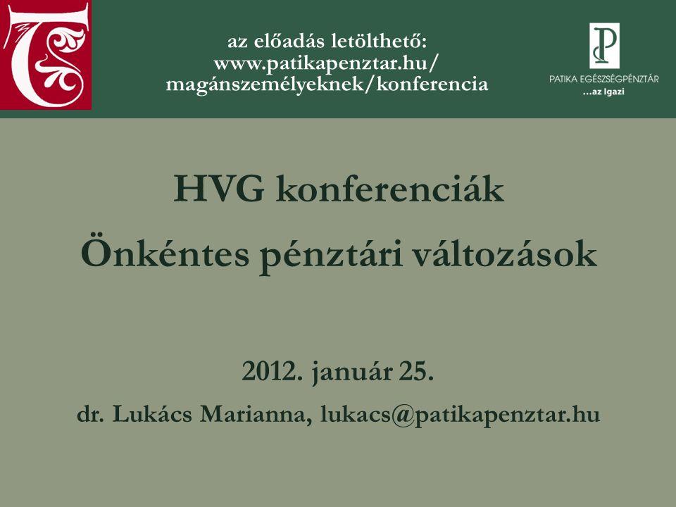 HVG konferenciák Önkéntes pénztári változások 2012.