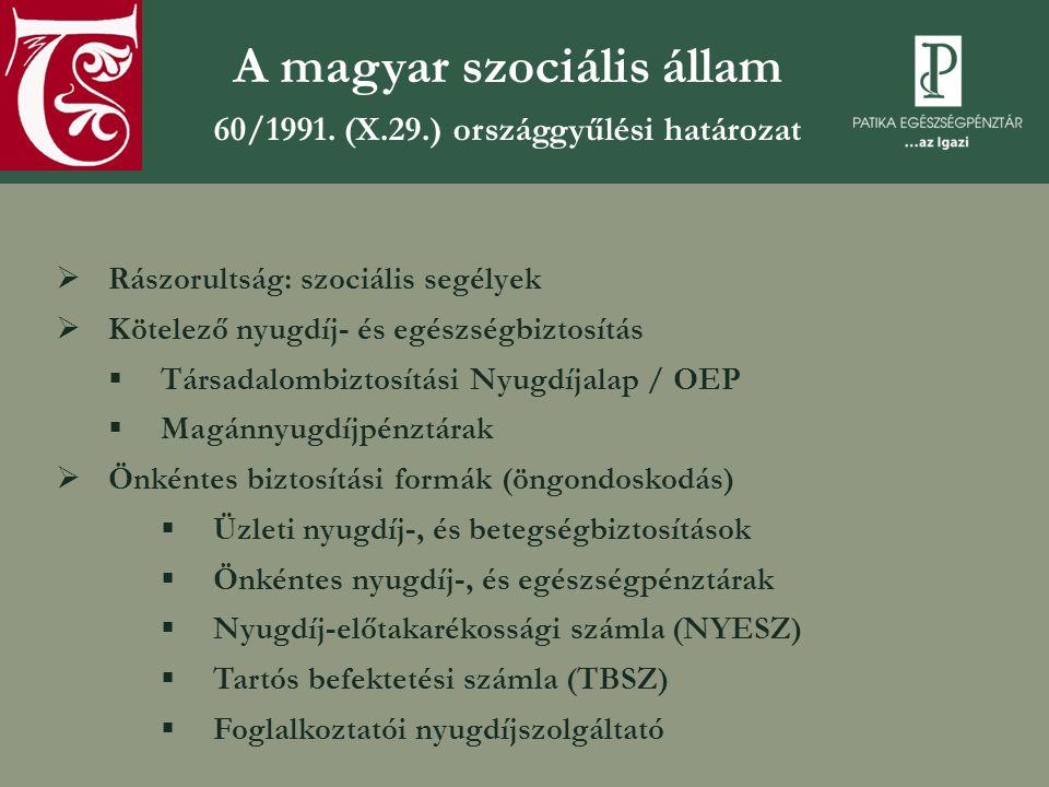 A magyar szociális állam 60/1991.