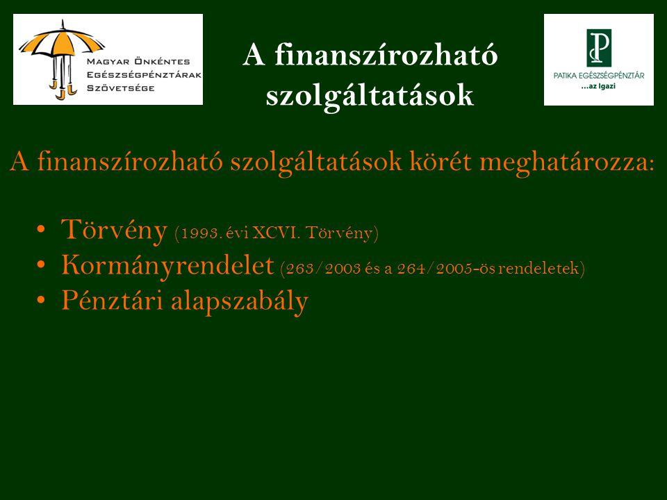 A finanszírozható szolgáltatások A finanszírozható szolgáltatások körét meghatározza: Törvény (1993. évi XCVI. Törvény) Kormányrendelet (263/2003 és a