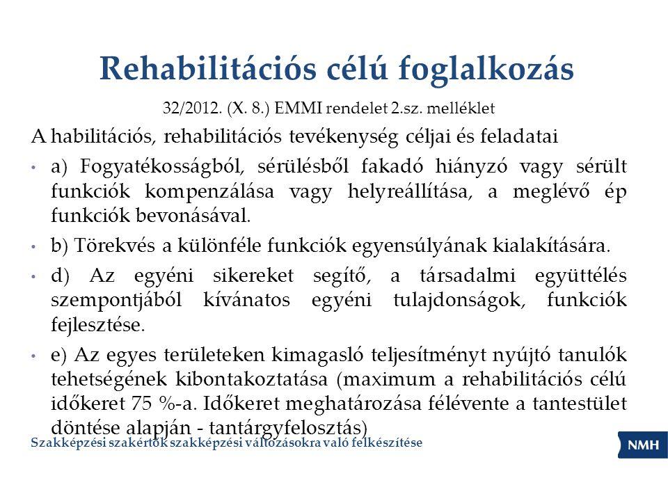Rehabilitációs célú foglalkozás 32/2012. (X. 8.) EMMI rendelet 2.sz. melléklet A habilitációs, rehabilitációs tevékenység céljai és feladatai a) Fogya