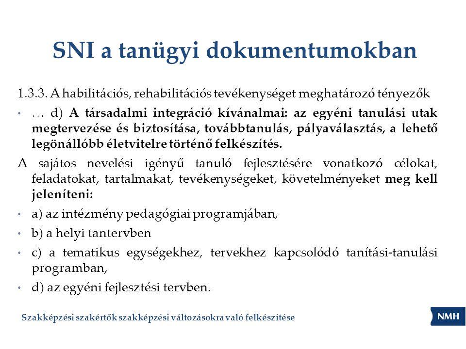 SNI a tanügyi dokumentumokban 1.3.3. A habilitációs, rehabilitációs tevékenységet meghatározó tényezők … d) A társadalmi integráció kívánalmai: az egy