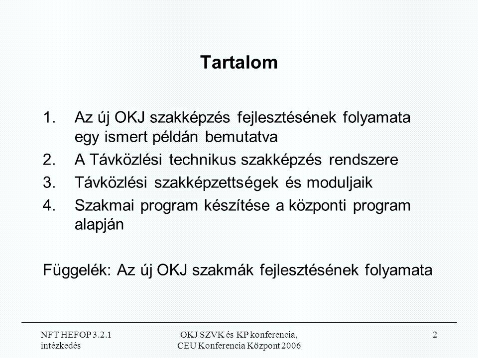 NFT HEFOP 3.2.1 intézkedés OKJ SZVK és KP konferencia, CEU Konferencia Központ 2006 2 Tartalom 1.Az új OKJ szakképzés fejlesztésének folyamata egy ismert példán bemutatva 2.A Távközlési technikus szakképzés rendszere 3.Távközlési szakképzettségek és moduljaik 4.Szakmai program készítése a központi program alapján Függelék: Az új OKJ szakmák fejlesztésének folyamata