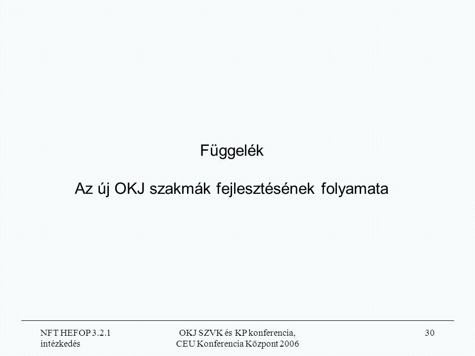 NFT HEFOP 3.2.1 intézkedés OKJ SZVK és KP konferencia, CEU Konferencia Központ 2006 30 Függelék Az új OKJ szakmák fejlesztésének folyamata