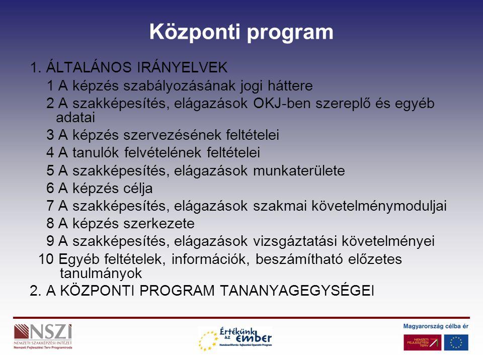 Központi program 1. ÁLTALÁNOS IRÁNYELVEK 1 A képzés szabályozásának jogi háttere 2 A szakképesítés, elágazások OKJ-ben szereplő és egyéb adatai 3 A ké