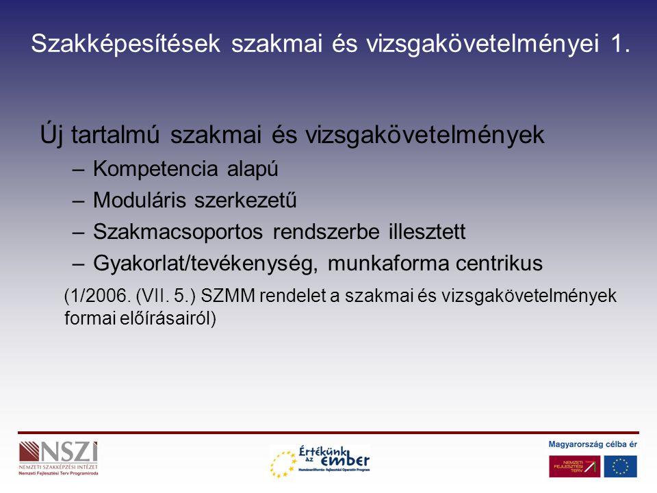 Szakképesítések szakmai és vizsgakövetelményei 1. Új tartalmú szakmai és vizsgakövetelmények –Kompetencia alapú –Moduláris szerkezetű –Szakmacsoportos