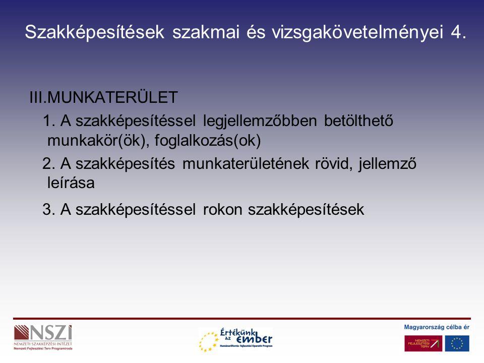 Szakképesítések szakmai és vizsgakövetelményei 4.III.MUNKATERÜLET 1.