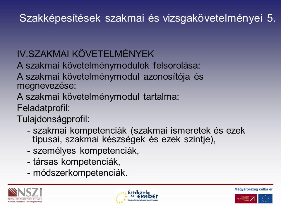 Szakképesítések szakmai és vizsgakövetelményei 6.V.