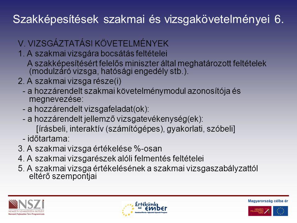 Szakképesítések szakmai és vizsgakövetelményei 7.VI.ESZKÖZ ÉS FELSZERELÉSI JEGYZÉK (2/2006.
