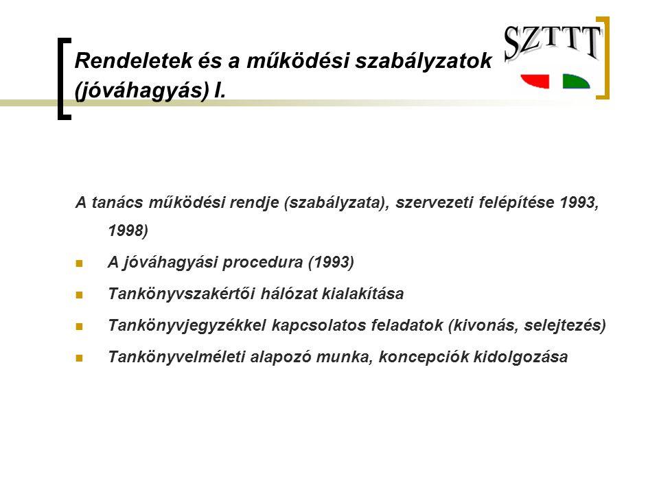 Rendeletek és a működési szabályzatok (jóváhagyás) I. A tanács működési rendje (szabályzata), szervezeti felépítése 1993, 1998) A jóváhagyási procedur