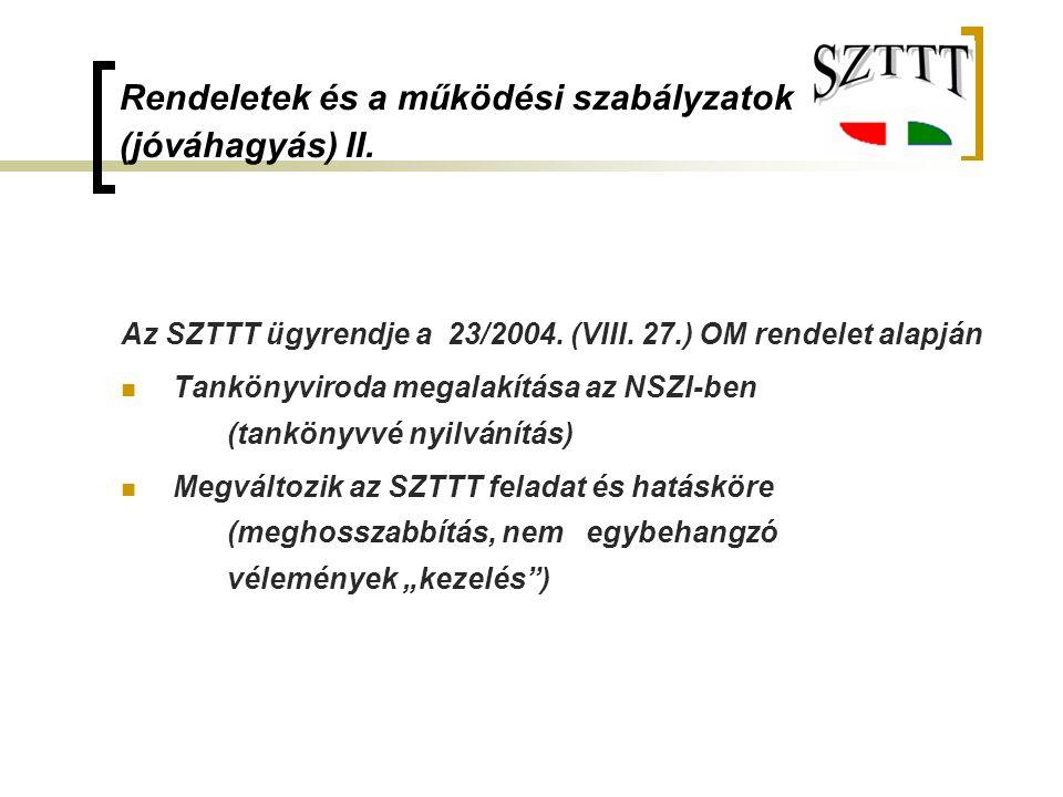 Rendeletek és a működési szabályzatok (jóváhagyás) II. Az SZTTT ügyrendje a 23/2004. (VIII. 27.) OM rendelet alapján Tankönyviroda megalakítása az NSZ