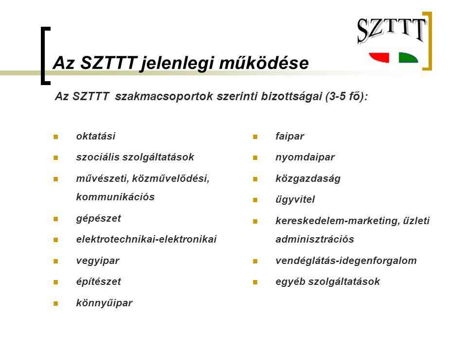 Az SZTTT jelenlegi működése oktatási szociális szolgáltatások művészeti, közművelődési, kommunikációs gépészet elektrotechnikai-elektronikai vegyipar
