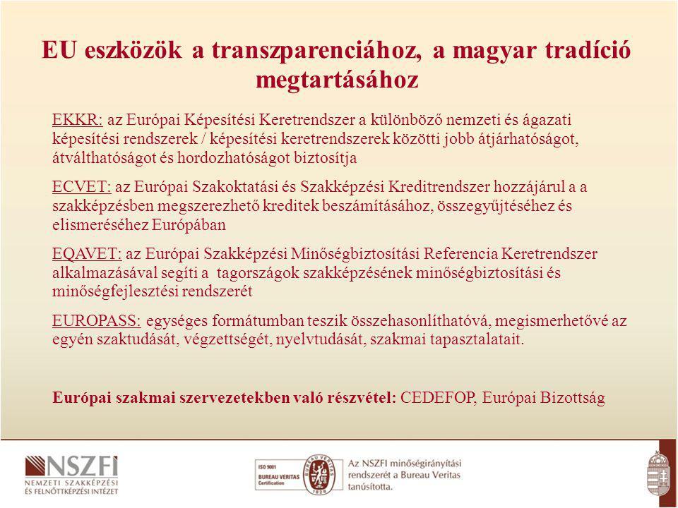 EKKR: az Európai Képesítési Keretrendszer a különböző nemzeti és ágazati képesítési rendszerek / képesítési keretrendszerek közötti jobb átjárhatóságot, átválthatóságot és hordozhatóságot biztosítja ECVET: az Európai Szakoktatási és Szakképzési Kreditrendszer hozzájárul a a szakképzésben megszerezhető kreditek beszámításához, összegyűjtéséhez és elismeréséhez Európában EQAVET: az Európai Szakképzési Minőségbiztosítási Referencia Keretrendszer alkalmazásával segíti a tagországok szakképzésének minőségbiztosítási és minőségfejlesztési rendszerét EUROPASS: egységes formátumban teszik összehasonlíthatóvá, megismerhetővé az egyén szaktudását, végzettségét, nyelvtudását, szakmai tapasztalatait.