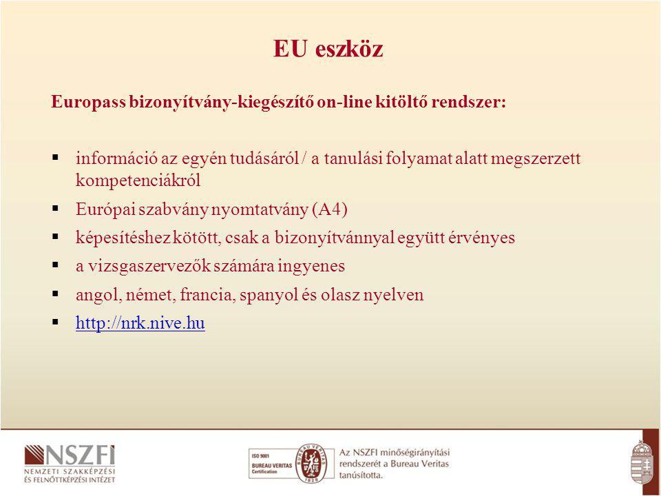 Europass bizonyítvány-kiegészítő on-line kitöltő rendszer:  információ az egyén tudásáról / a tanulási folyamat alatt megszerzett kompetenciákról  Európai szabvány nyomtatvány (A4)  képesítéshez kötött, csak a bizonyítvánnyal együtt érvényes  a vizsgaszervezők számára ingyenes  angol, német, francia, spanyol és olasz nyelven  http://nrk.nive.hu http://nrk.nive.hu EU eszköz