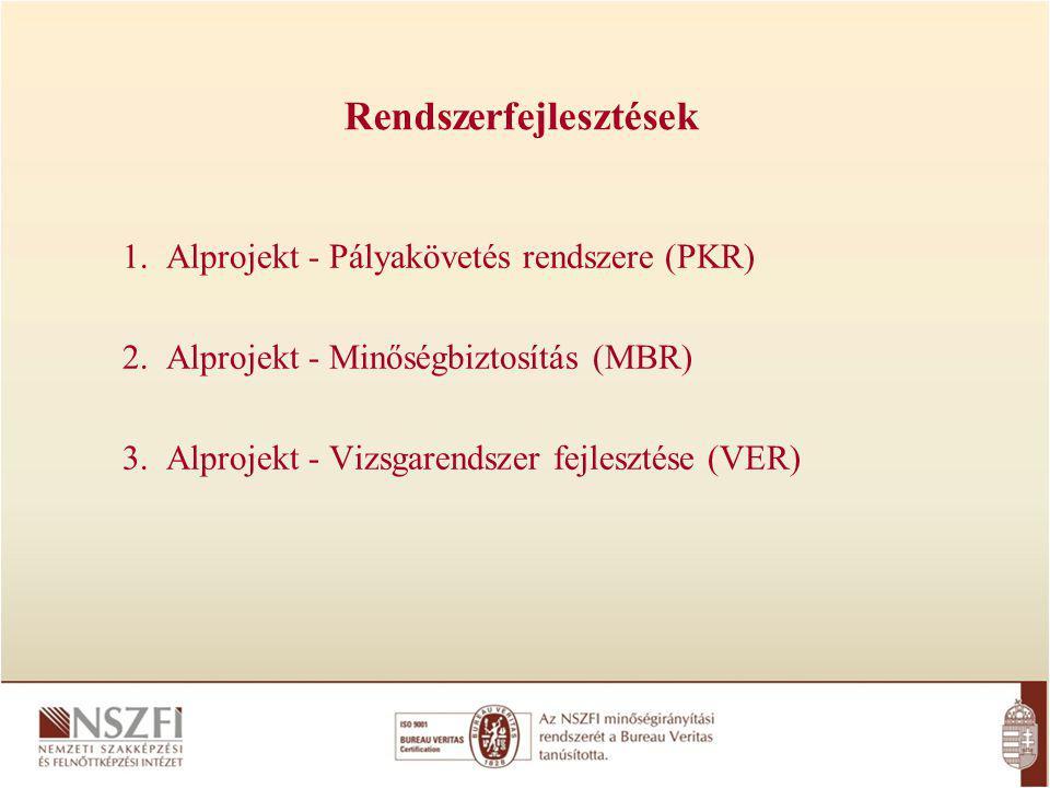 1.Alprojekt - Pályakövetés rendszere (PKR) 2. Alprojekt - Minőségbiztosítás (MBR) 3.