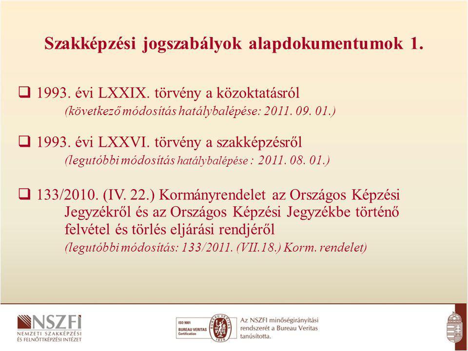 Szakképzési jogszabályok alapdokumentumok 1. 1993.