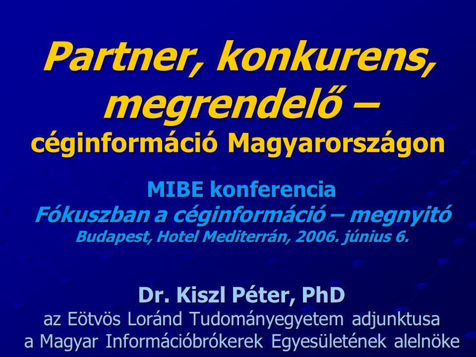 Partner, konkurens, megrendelő – céginformáció Magyarországon MIBE konferencia Fókuszban a céginformáció – megnyitó Budapest, Hotel Mediterrán, 2006.