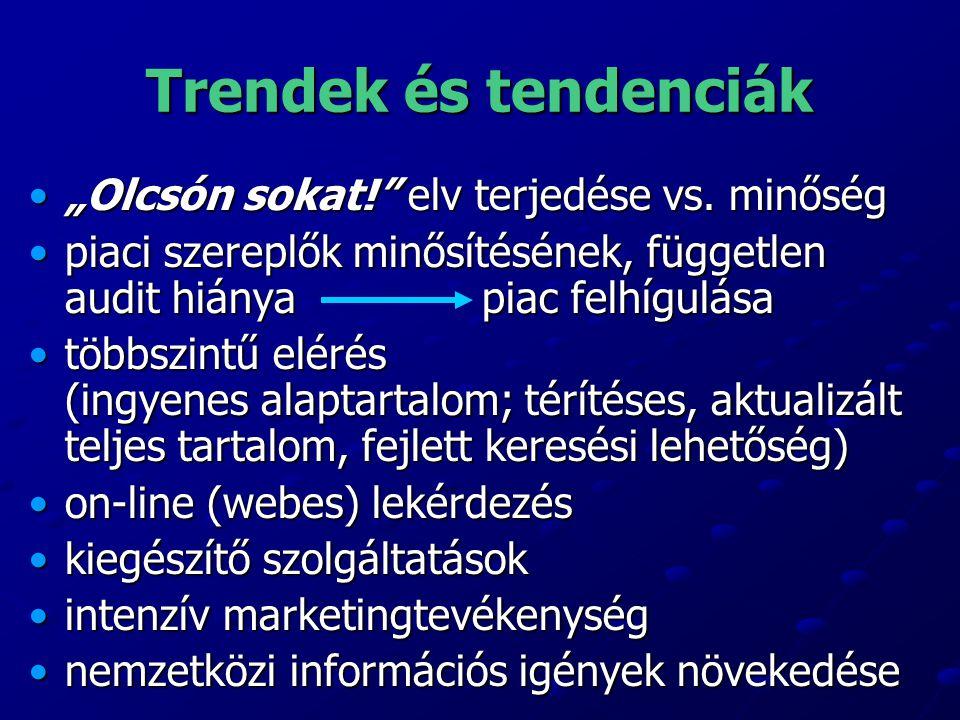 """Trendek és tendenciák """"Olcsón sokat!"""" elv terjedése vs. minőség""""Olcsón sokat!"""" elv terjedése vs. minőség piaci szereplők minősítésének, független audi"""